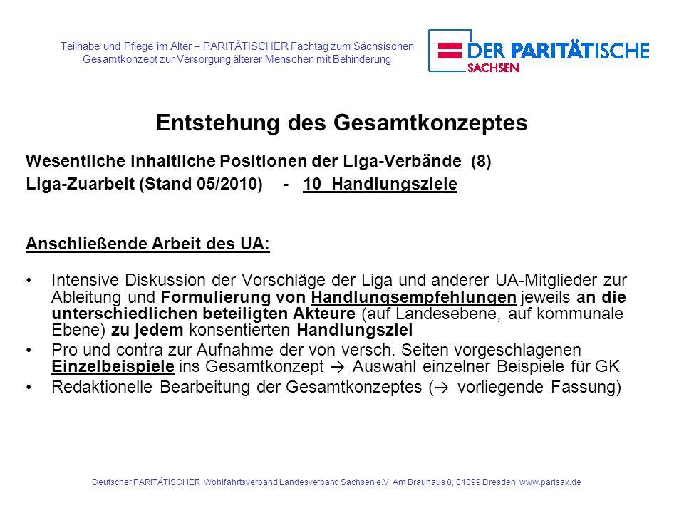 Teilhabe und Pflege im Alter – PARITÄTISCHER Fachtag zum Sächsischen Gesamtkonzept zur Versorgung älterer Menschen mit Behinderung Deutscher PARITÄTIS
