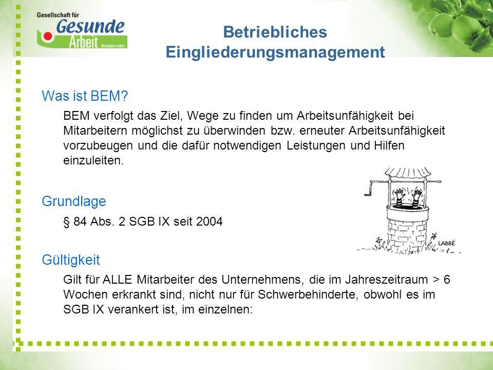 Betriebliches Eingliederungsmanagement Was ist BEM? BEM verfolgt das Ziel, Wege zu finden um Arbeitsunfähigkeit bei Mitarbeitern möglichst zu überwind