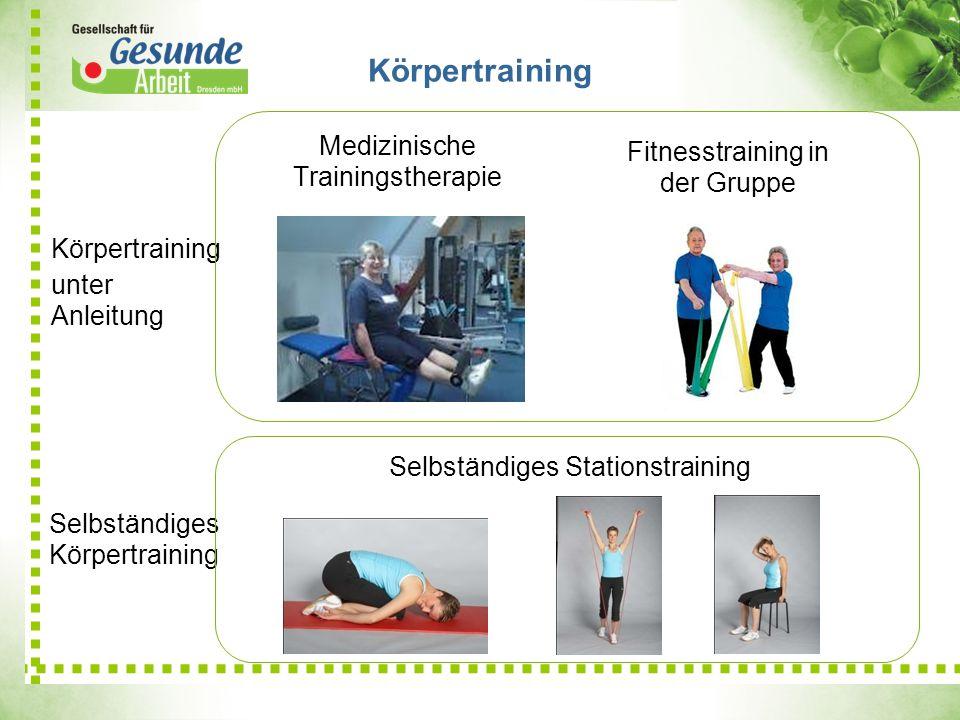 Körpertraining Medizinische Trainingstherapie Selbständiges Körpertraining Fitnesstraining in der Gruppe Körpertraining unter Anleitung Selbständiges