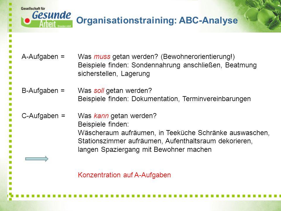 Organisationstraining: ABC-Analyse A-Aufgaben =Was muss getan werden? (Bewohnerorientierung!) Beispiele finden: Sondennahrung anschließen, Beatmung si