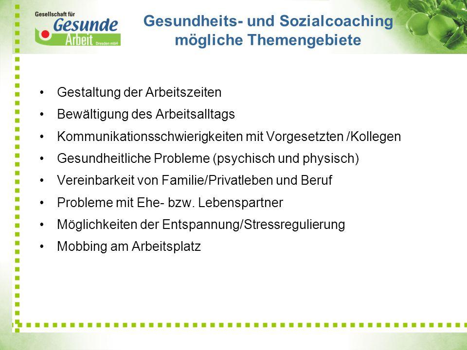 Gesundheits- und Sozialcoaching mögliche Themengebiete Gestaltung der Arbeitszeiten Bewältigung des Arbeitsalltags Kommunikationsschwierigkeiten mit V
