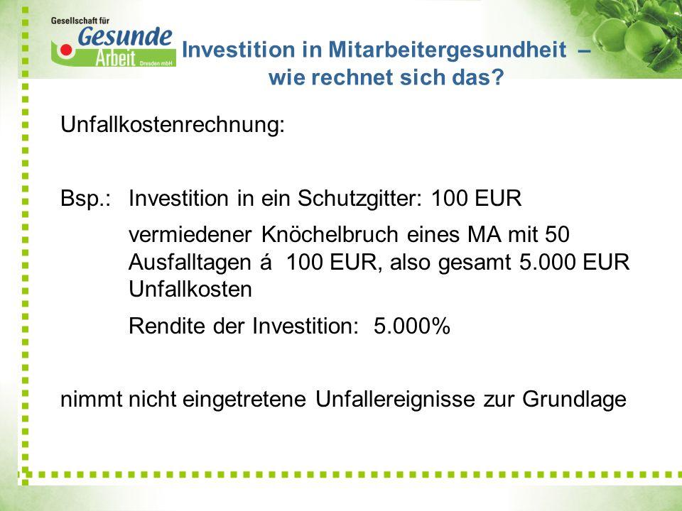 Unfallkostenrechnung: Bsp.: Investition in ein Schutzgitter: 100 EUR vermiedener Knöchelbruch eines MA mit 50 Ausfalltagen á 100 EUR, also gesamt 5.00