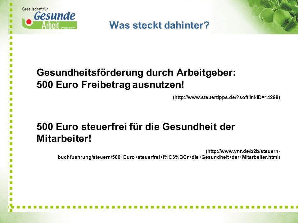 Gesundheitsförderung durch Arbeitgeber: 500 Euro Freibetrag ausnutzen! (http://www.steuertipps.de/?softlinkID=14298) 500 Euro steuerfrei für die Gesun
