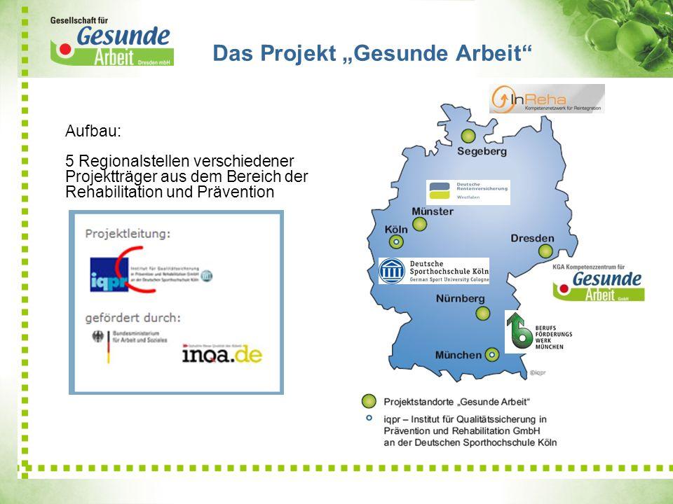 Das Projekt Gesunde Arbeit Aufbau: 5 Regionalstellen verschiedener Projektträger aus dem Bereich der Rehabilitation und Prävention