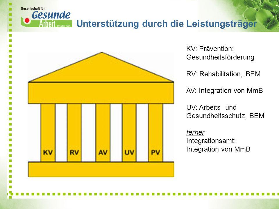 KV: Prävention; Gesundheitsförderung RV: Rehabilitation, BEM AV: Integration von MmB UV: Arbeits- und Gesundheitsschutz, BEM ferner Integrationsamt: I