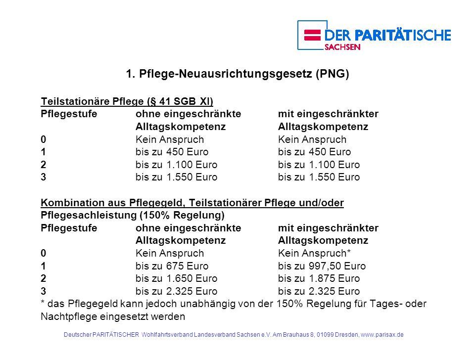 1. Pflege-Neuausrichtungsgesetz (PNG) Teilstationäre Pflege (§ 41 SGB XI) Pflegestufe ohne eingeschränktemit eingeschränkterAlltagskompetenz 0 Kein An