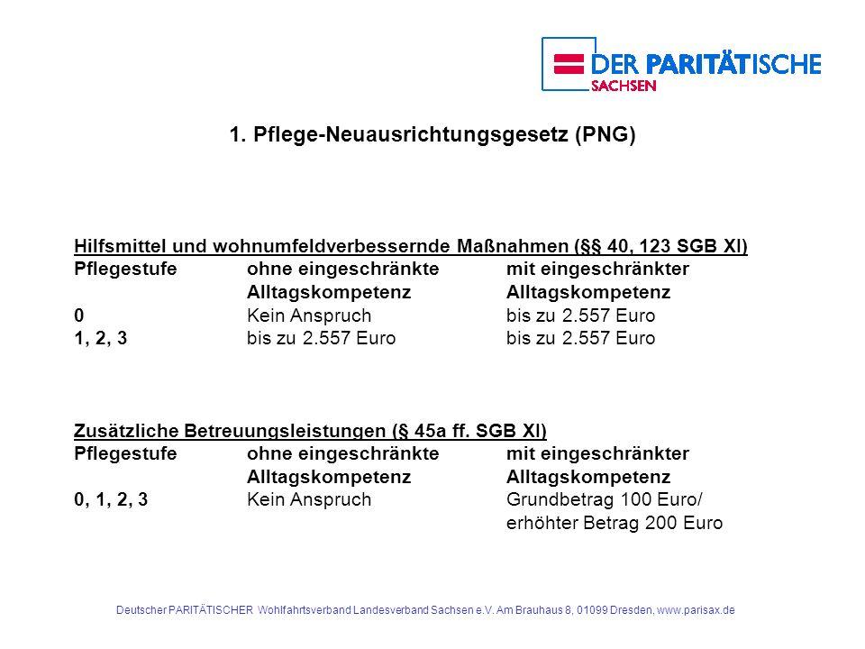1. Pflege-Neuausrichtungsgesetz (PNG) Hilfsmittel und wohnumfeldverbessernde Maßnahmen (§§ 40, 123 SGB XI) Pflegestufe ohne eingeschränktemit eingesch