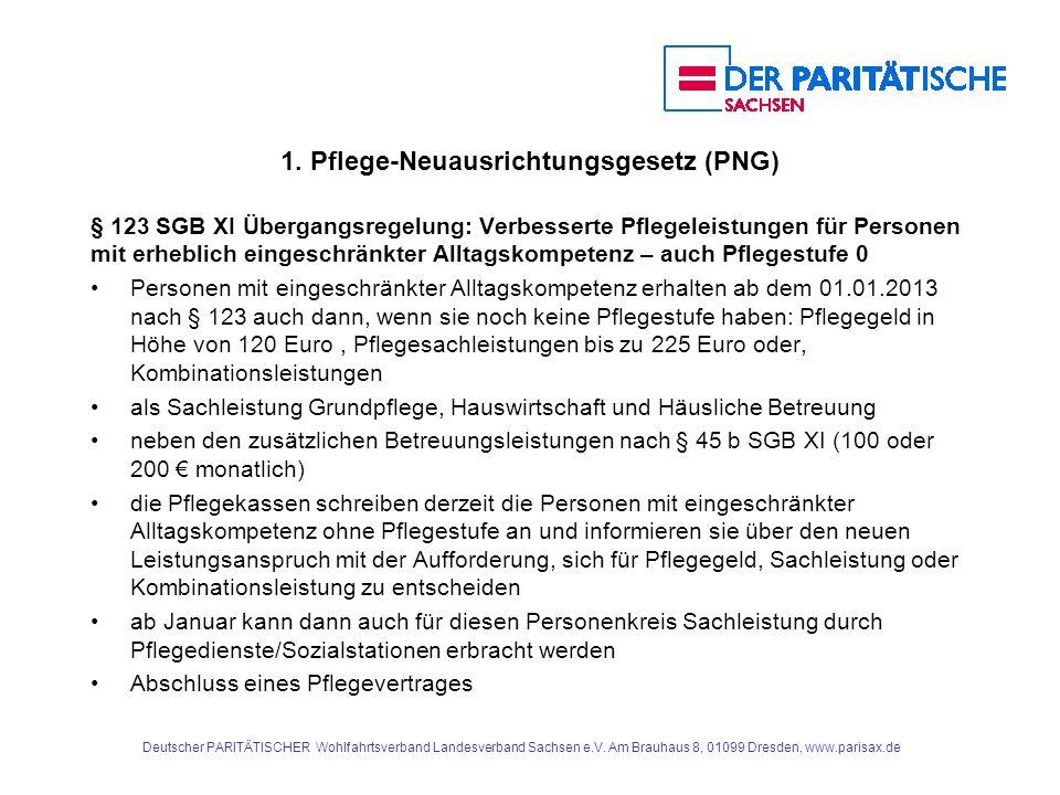 1. Pflege-Neuausrichtungsgesetz (PNG) § 123 SGB XI Übergangsregelung: Verbesserte Pflegeleistungen für Personen mit erheblich eingeschränkter Alltagsk