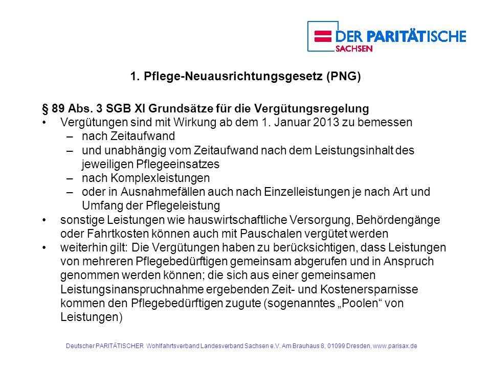 1. Pflege-Neuausrichtungsgesetz (PNG) § 89 Abs. 3 SGB XI Grundsätze für die Vergütungsregelung Vergütungen sind mit Wirkung ab dem 1. Januar 2013 zu b