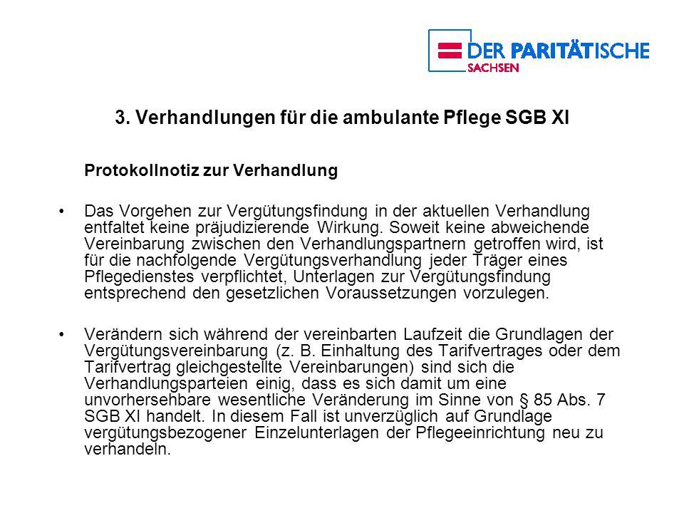 3. Verhandlungen für die ambulante Pflege SGB XI Protokollnotiz zur Verhandlung Das Vorgehen zur Vergütungsfindung in der aktuellen Verhandlung entfal