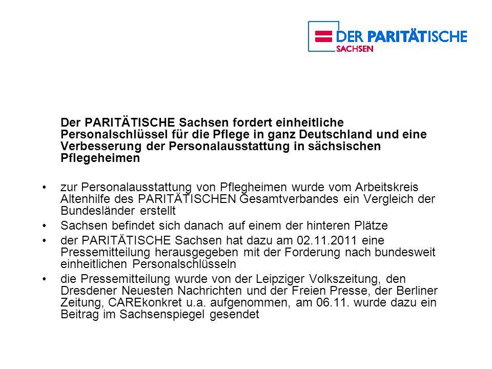 Der PARITÄTISCHE Sachsen fordert einheitliche Personalschlüssel für die Pflege in ganz Deutschland und eine Verbesserung der Personalausstattung in sä