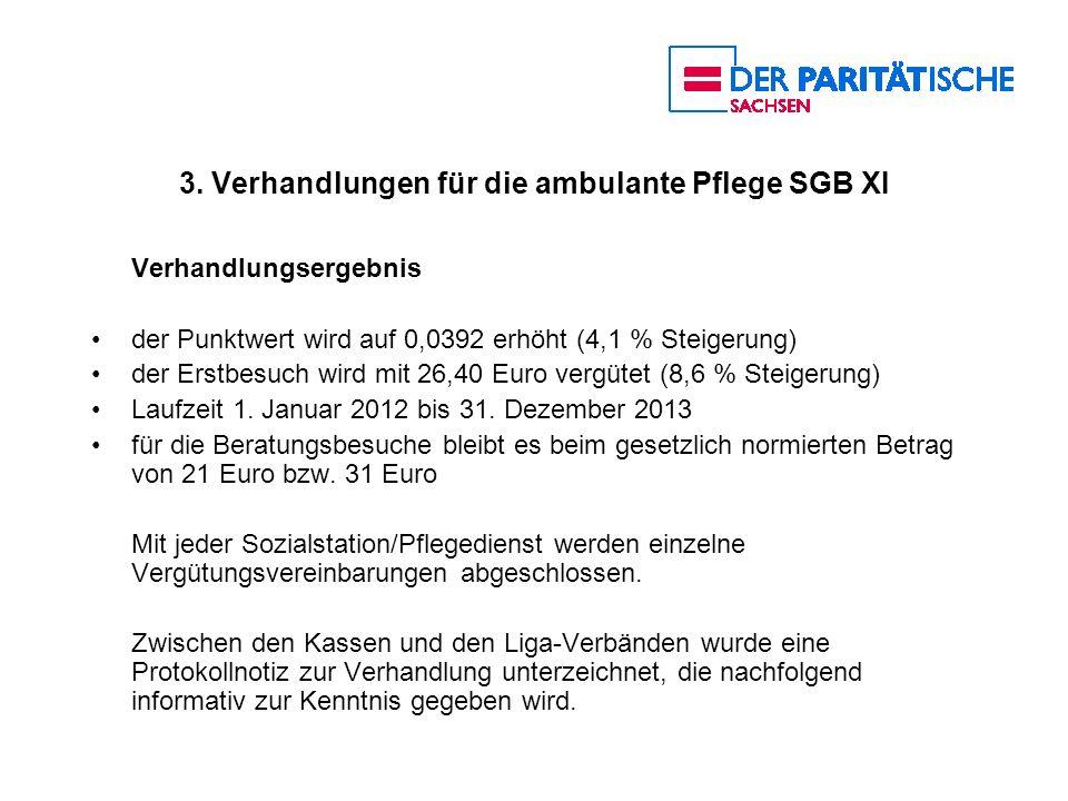 3. Verhandlungen für die ambulante Pflege SGB XI Verhandlungsergebnis der Punktwert wird auf 0,0392 erhöht (4,1 % Steigerung) der Erstbesuch wird mit