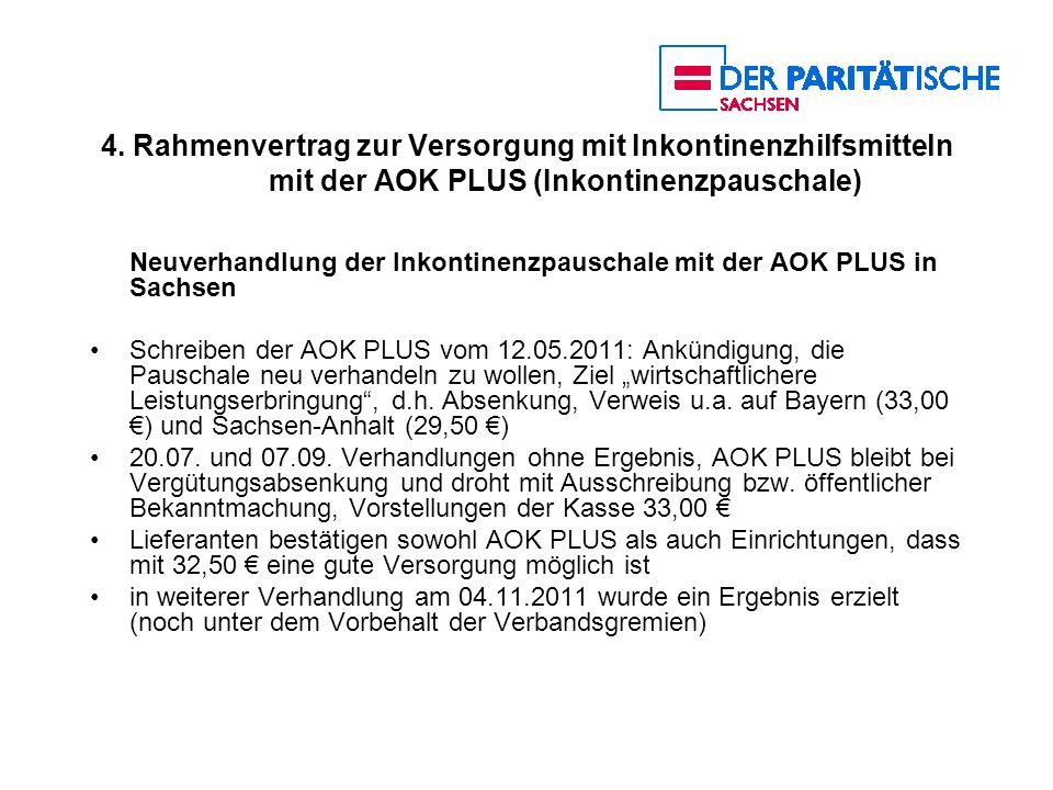 4. Rahmenvertrag zur Versorgung mit Inkontinenzhilfsmitteln mit der AOK PLUS (Inkontinenzpauschale) Neuverhandlung der Inkontinenzpauschale mit der AO
