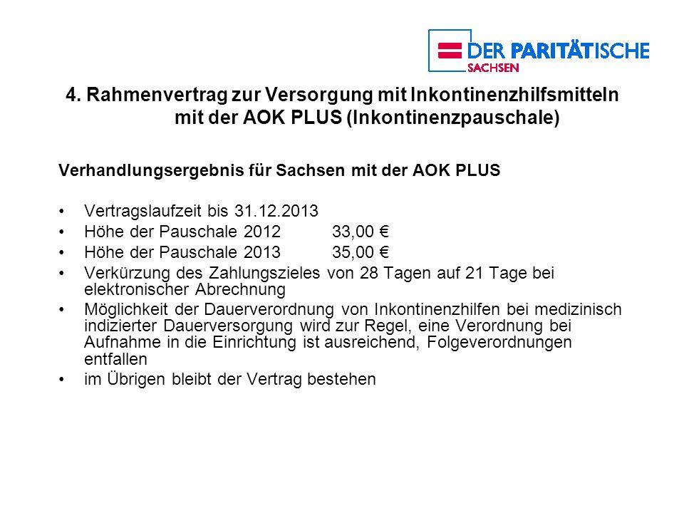 4. Rahmenvertrag zur Versorgung mit Inkontinenzhilfsmitteln mit der AOK PLUS (Inkontinenzpauschale) Verhandlungsergebnis für Sachsen mit der AOK PLUS