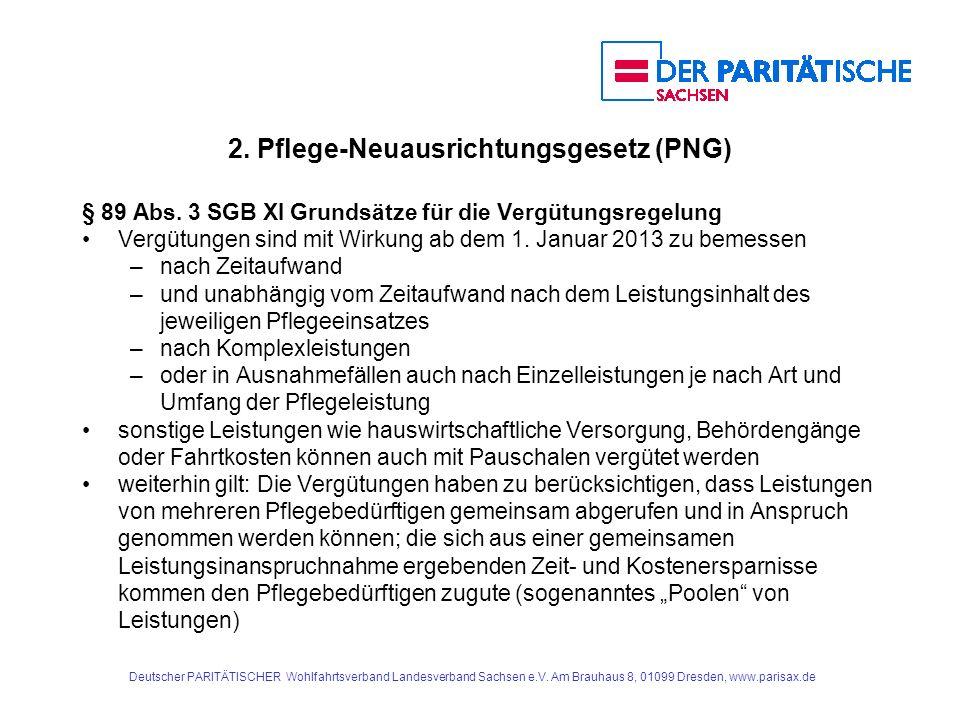 2. Pflege-Neuausrichtungsgesetz (PNG) § 89 Abs. 3 SGB XI Grundsätze für die Vergütungsregelung Vergütungen sind mit Wirkung ab dem 1. Januar 2013 zu b