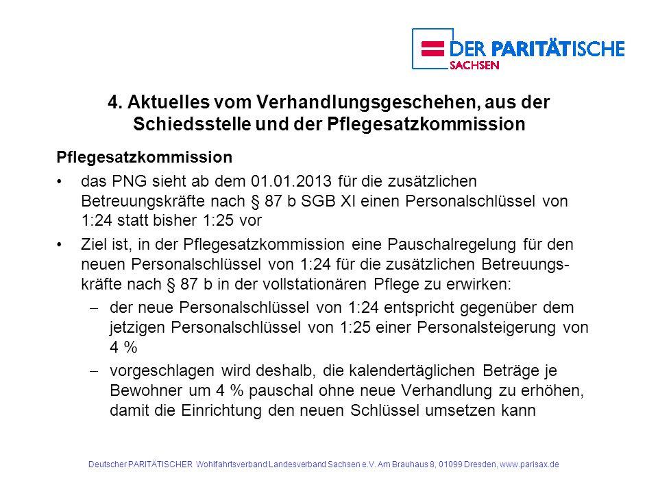 4. Aktuelles vom Verhandlungsgeschehen, aus der Schiedsstelle und der Pflegesatzkommission Pflegesatzkommission das PNG sieht ab dem 01.01.2013 für di