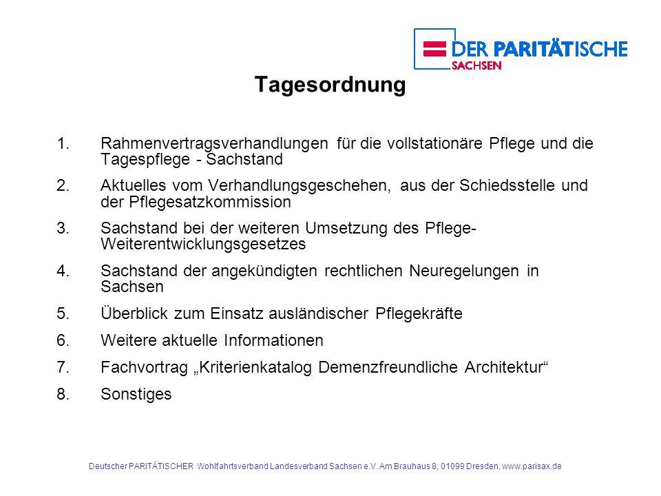 Deutscher PARITÄTISCHER Wohlfahrtsverband Landesverband Sachsen e.V. Am Brauhaus 8, 01099 Dresden, www.parisax.de Tagesordnung 1. Rahmenvertragsverhan