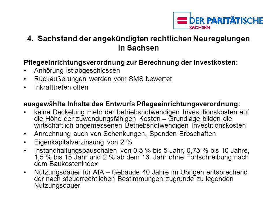 4. Sachstand der angekündigten rechtlichen Neuregelungen in Sachsen Pflegeeinrichtungsverordnung zur Berechnung der Investkosten: Anhörung ist abgesch