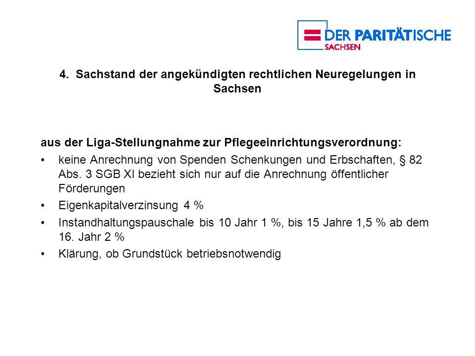 4. Sachstand der angekündigten rechtlichen Neuregelungen in Sachsen aus der Liga-Stellungnahme zur Pflegeeinrichtungsverordnung: keine Anrechnung von