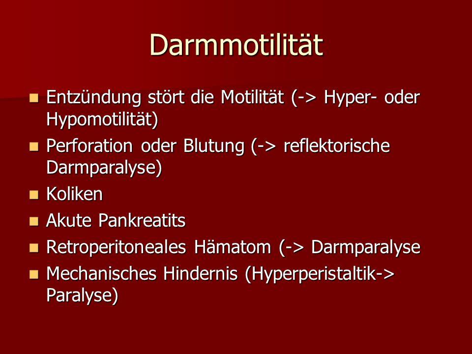 Darmmotilität Entzündung stört die Motilität (-> Hyper- oder Hypomotilität) Entzündung stört die Motilität (-> Hyper- oder Hypomotilität) Perforation