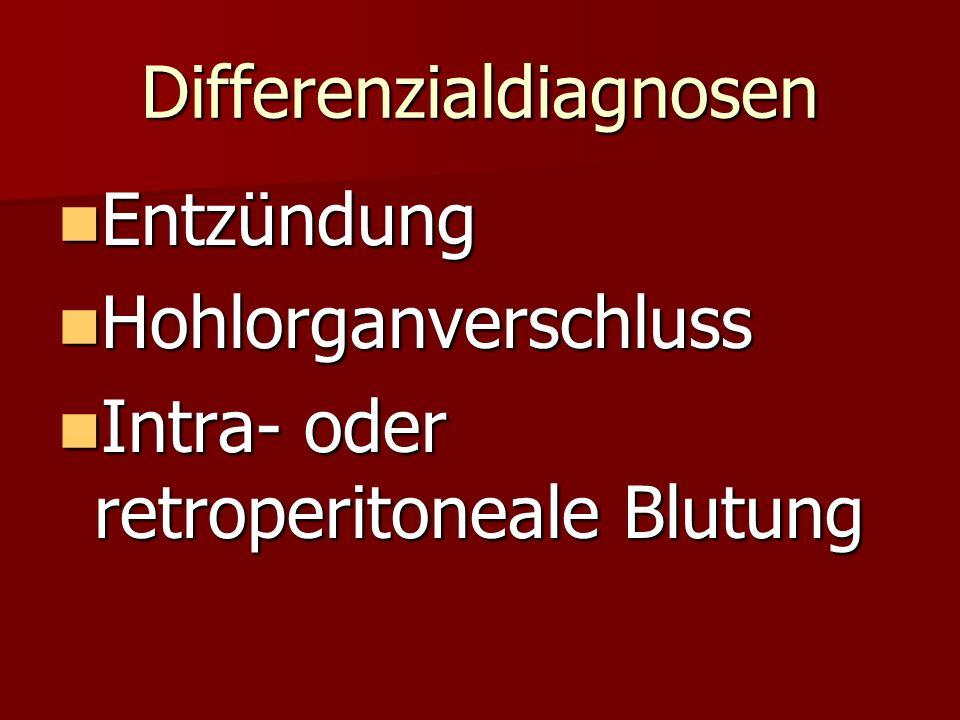 Differenzialdiagnosen Entzündung Entzündung Hohlorganverschluss Hohlorganverschluss Intra- oder retroperitoneale Blutung Intra- oder retroperitoneale