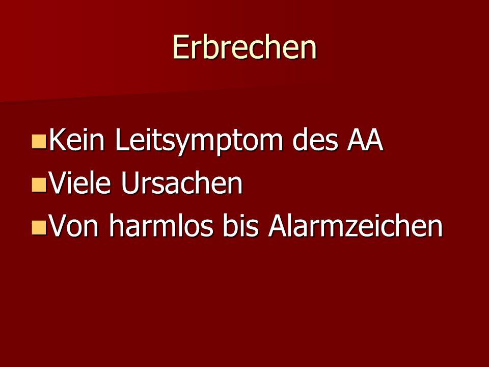 Erbrechen Kein Leitsymptom des AA Kein Leitsymptom des AA Viele Ursachen Viele Ursachen Von harmlos bis Alarmzeichen Von harmlos bis Alarmzeichen