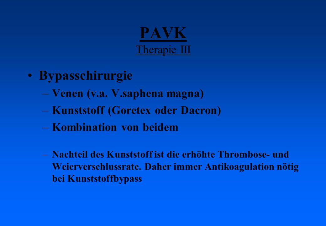 PAVK Therapie III Bypasschirurgie –Venen (v.a. V.saphena magna) –Kunststoff (Goretex oder Dacron) –Kombination von beidem –Nachteil des Kunststoff ist