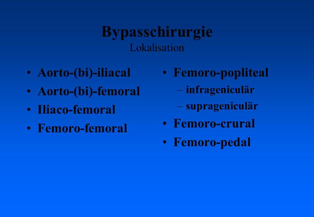 Bypasschirurgie Lokalisation Aorto-(bi)-iliacal Aorto-(bi)-femoral Iliaco-femoral Femoro-femoral Femoro-popliteal –infrageniculär –suprageniculär Femo
