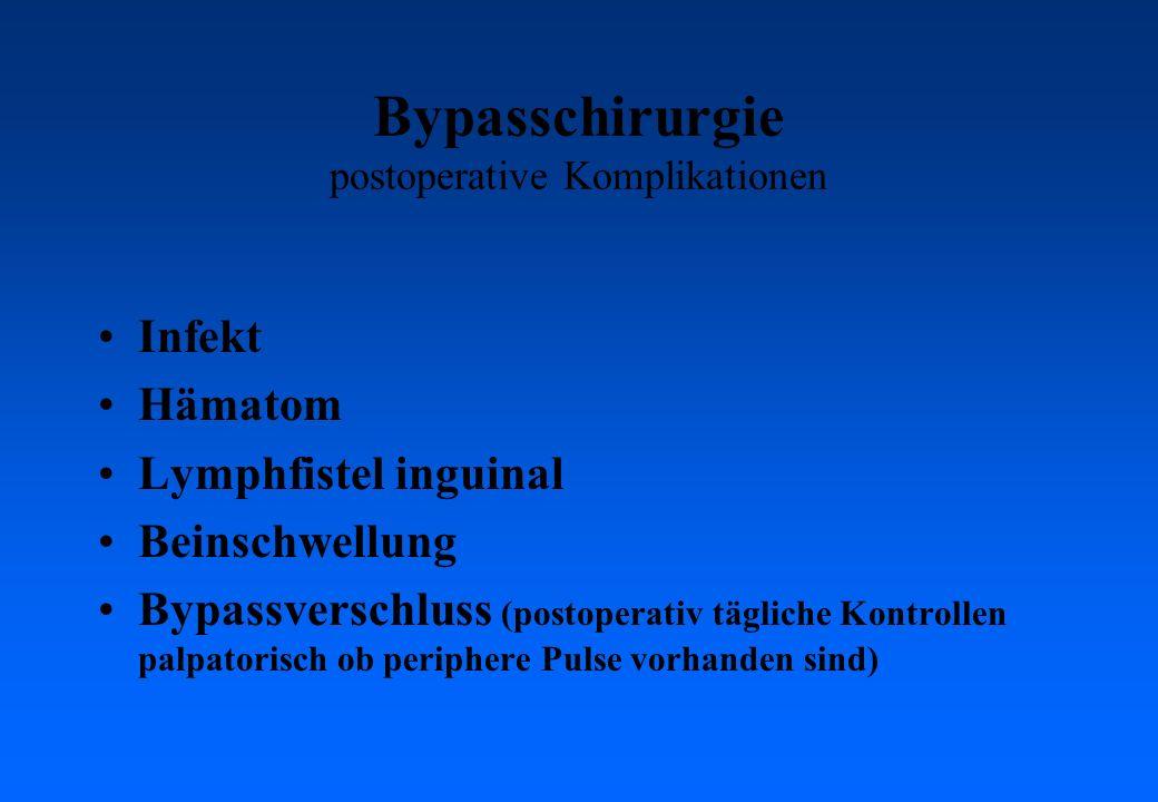 Bypasschirurgie postoperative Komplikationen Infekt Hämatom Lymphfistel inguinal Beinschwellung Bypassverschluss (postoperativ tägliche Kontrollen palpatorisch ob periphere Pulse vorhanden sind)