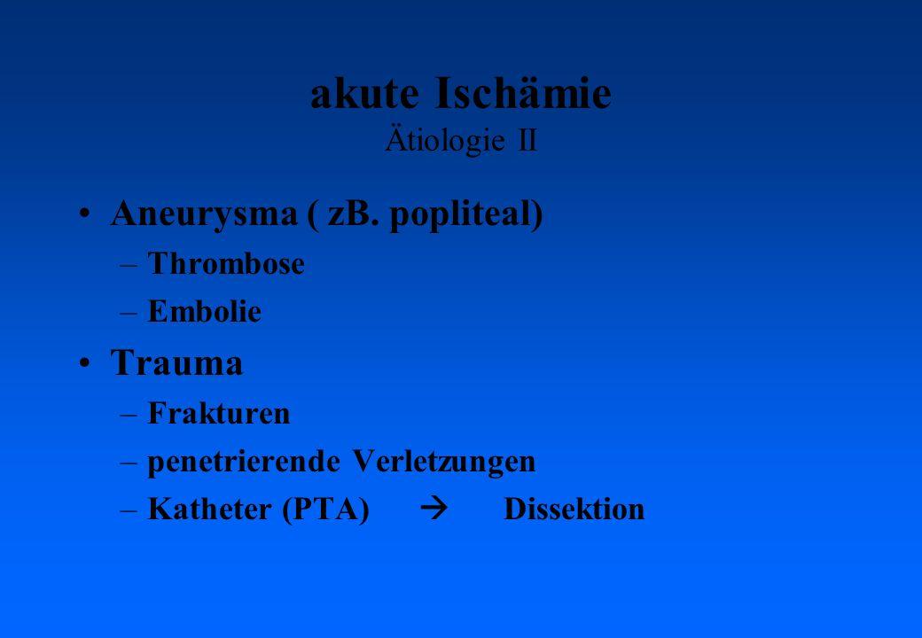 akute Ischämie Ätiologie II Aneurysma ( zB.