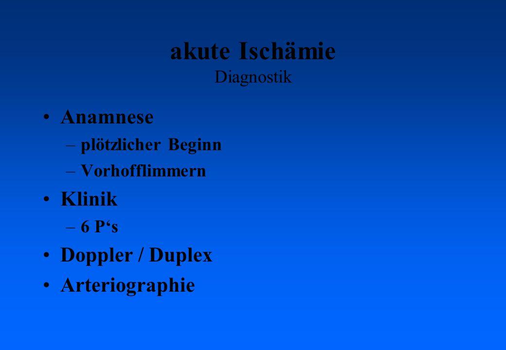 akute Ischämie Diagnostik Anamnese –plötzlicher Beginn –Vorhofflimmern Klinik –6 Ps Doppler / Duplex Arteriographie