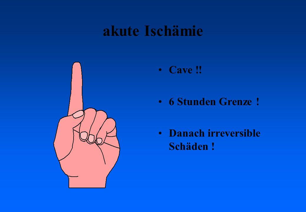 akute Ischämie Cave !! 6 Stunden Grenze ! Danach irreversible Schäden !
