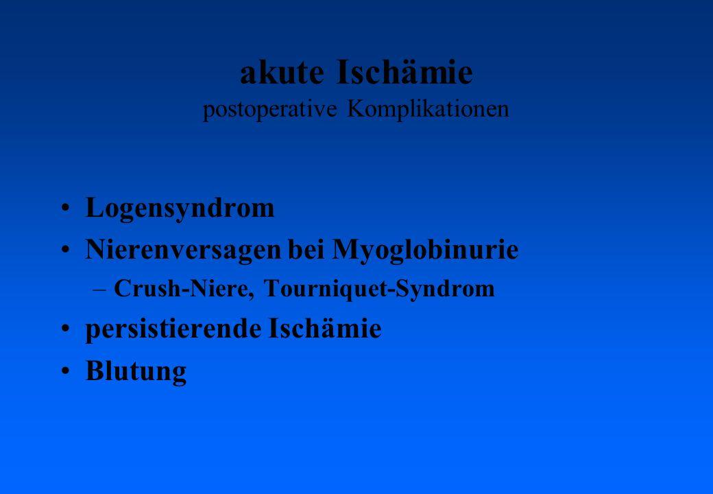akute Ischämie postoperative Komplikationen Logensyndrom Nierenversagen bei Myoglobinurie –Crush-Niere, Tourniquet-Syndrom persistierende Ischämie Blutung