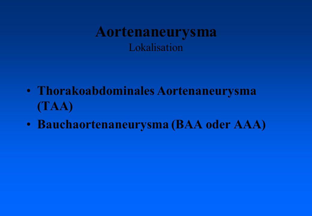 Aortenaneurysma Lokalisation Thorakoabdominales Aortenaneurysma (TAA) Bauchaortenaneurysma (BAA oder AAA)