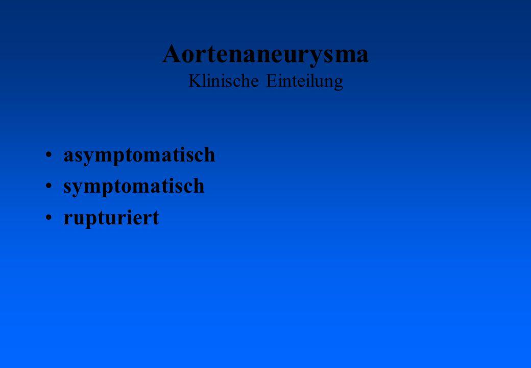 Aortenaneurysma Klinische Einteilung asymptomatisch symptomatisch rupturiert