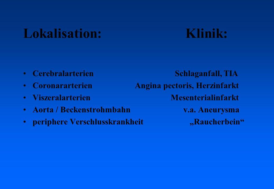 Lokalisation: Klinik: CerebralarterienSchlaganfall, TIA Coronararterien Angina pectoris, Herzinfarkt Viszeralarterien Mesenterialinfarkt Aorta / Beckenstrohmbahn v.a.