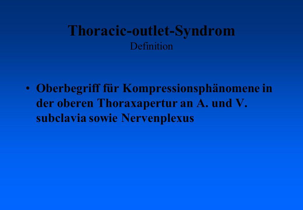 Thoracic-outlet-Syndrom Definition Oberbegriff für Kompressionsphänomene in der oberen Thoraxapertur an A. und V. subclavia sowie Nervenplexus