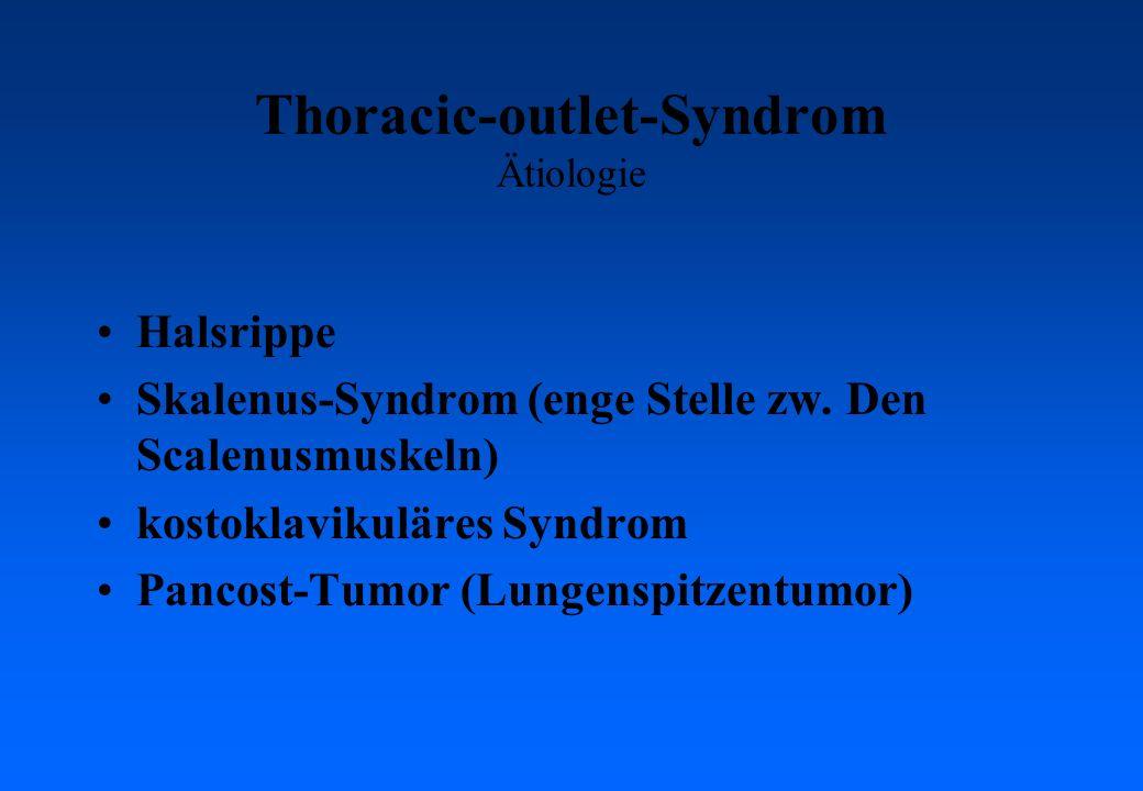 Thoracic-outlet-Syndrom Ätiologie Halsrippe Skalenus-Syndrom (enge Stelle zw. Den Scalenusmuskeln) kostoklavikuläres Syndrom Pancost-Tumor (Lungenspit