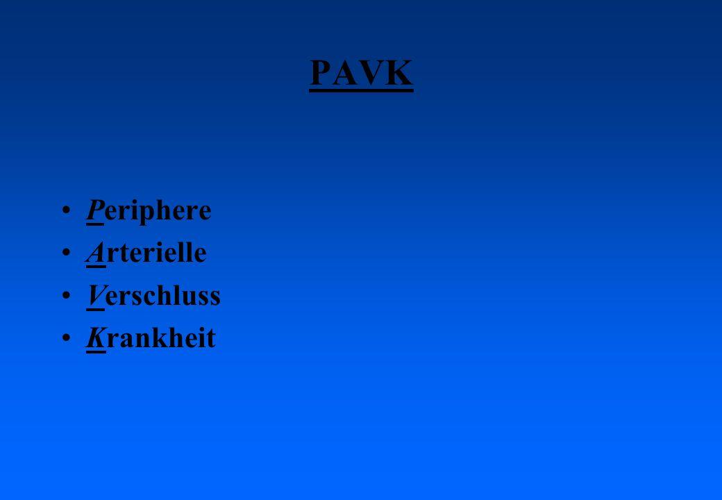 Klinik / Symptome der pAVK: Claudicatio intermittens = Schaufensterkrankheit: Die Patienten bekommen beim Gehen Schmerzen im Bein, welche nach Anhalten innert Minuten verschwinden.