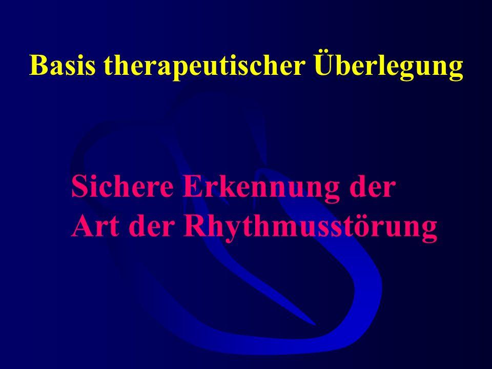 Basis therapeutischer Überlegung Sichere Erkennung der Art der Rhythmusstörung