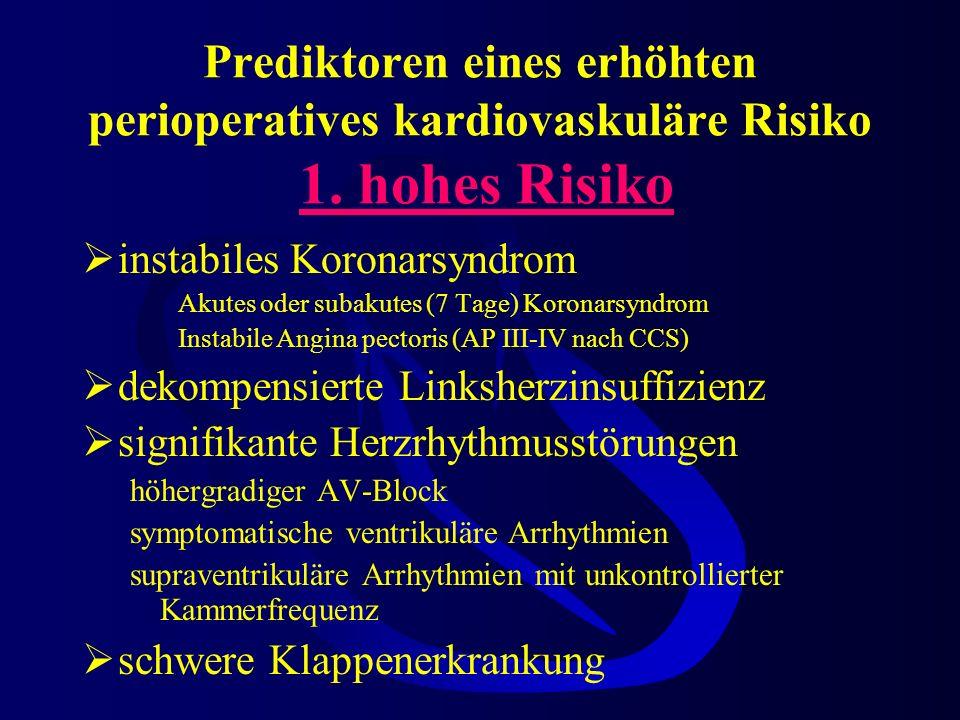 Prediktoren eines erhöhten perioperatives kardiovaskuläre Risiko 1.