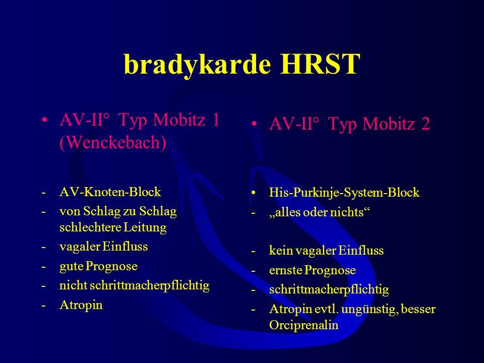 bradykarde HRST Therapeutische Relevanz bei Differentialdiagnose des AV-Blocks II° AV-Block II° Mobitz Typ 1 (Wenckebach) AV-Block II° Mobitz Typ 2