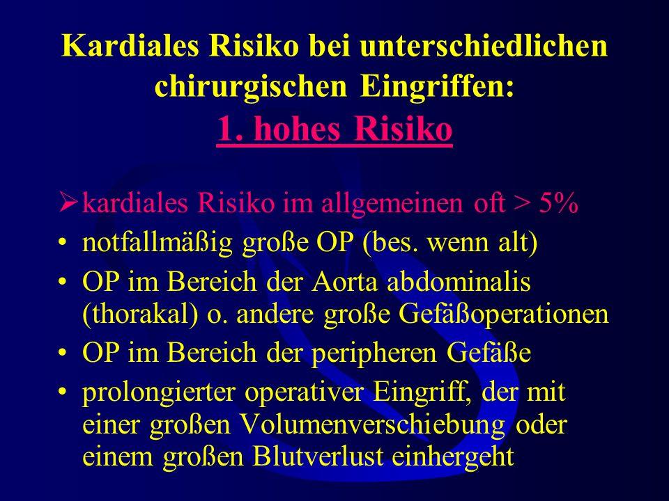 Prediktoren eines erhöhten perioperatives kardiovaskuläre Risiko 3. niedriges Risiko hohes Lebensalter auffälliges EKG (LSB, LV-Hypertrophie, ST-Abnor