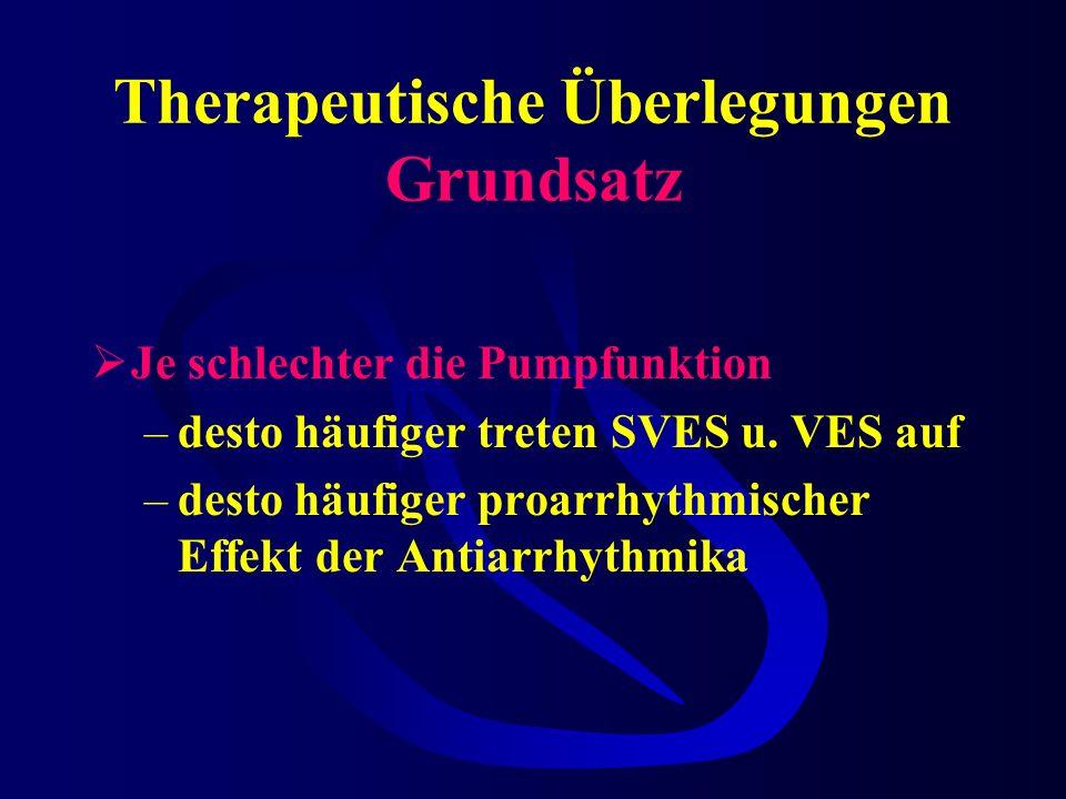 Therapeutische Überlegungen Grundsatz Je schlechter die Pumpfunktion –desto häufiger treten SVES u.