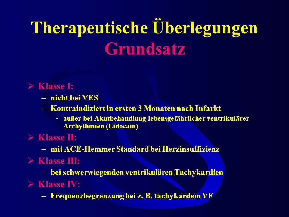 Therapeutische Überlegungen Grundsatz KlasseWirkungEKGWirkortSubstanz Ia Na- Antagonisten Anstiegssteilheit + Repolarisation - QT ++Vorhof Ventrikel C