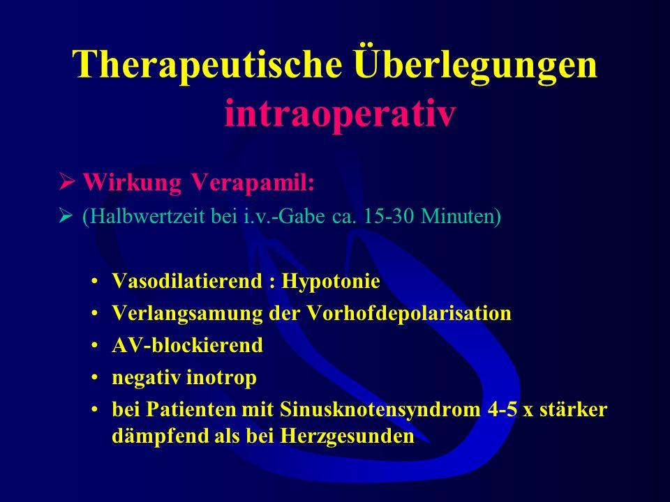 Therapeutische Überlegungen intraoperativ Adenosin hat Verapamil abgelöst! Indikation für Verapamil AV-Knoten-Reentry-Tachykardie Frequenzbegrenzung b