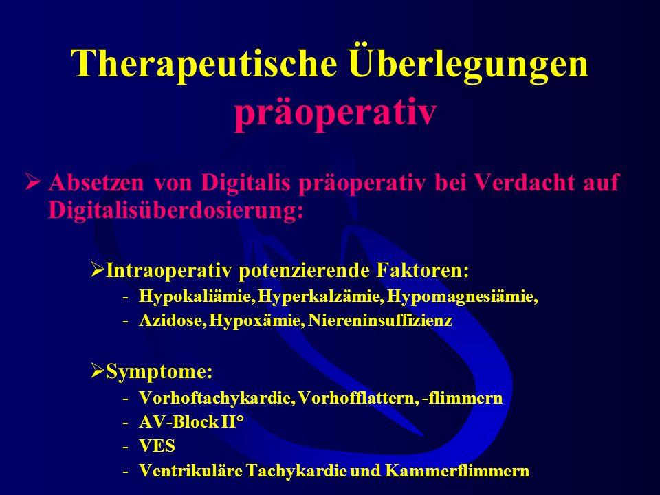 Therapeutische Überlegungen präoperativ Absetzen von Digitalis präoperativ bei Verdacht auf Digitalisüberdosierung: Intraoperativ potenzierende Faktoren: -Hypokaliämie, Hyperkalzämie, Hypomagnesiämie, -Azidose, Hypoxämie, Niereninsuffizienz Symptome: -Vorhoftachykardie, Vorhofflattern, -flimmern -AV-Block II° -VES -Ventrikuläre Tachykardie und Kammerflimmern