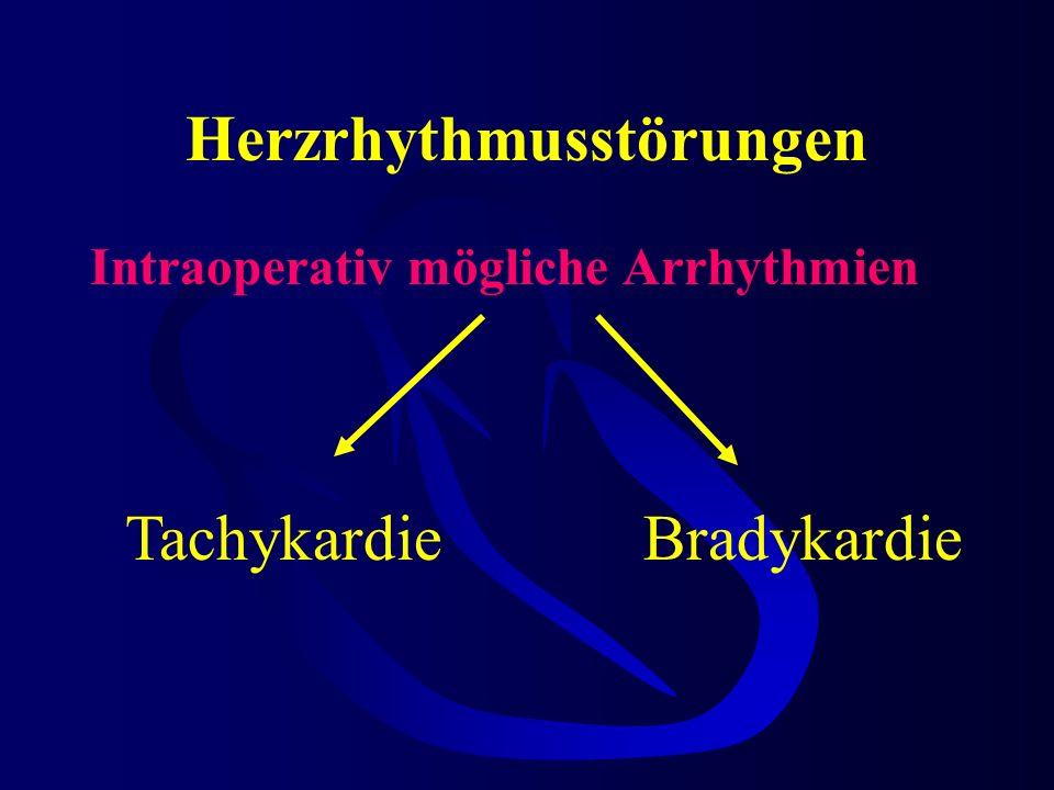 Herzrhythmusstörungen Intraoperativ mögliche Arrhythmien TachykardieBradykardie