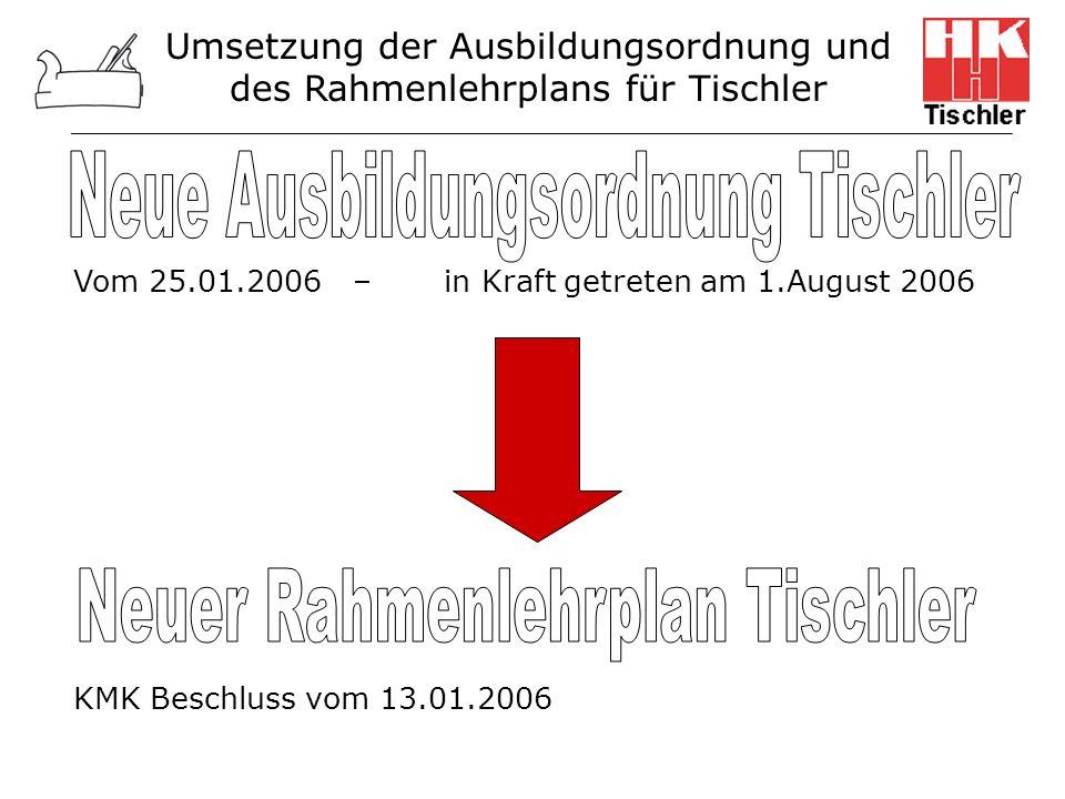 Umsetzung der Ausbildungsordnung und des Rahmenlehrplans für Tischler Vom 25.01.2006 – in Kraft getreten am 1.August 2006 KMK Beschluss vom 13.01.2006