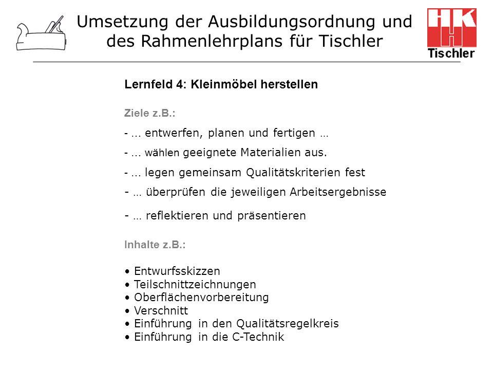 Umsetzung der Ausbildungsordnung und des Rahmenlehrplans für Tischler Lernfeld 4: Kleinmöbel herstellen Ziele z.B.: - … entwerfen, planen und fertigen